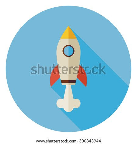 Flat Space Shuttle Rocket Circle Icon with Long Shadow. Transportation Vector illustration. Flying in the Sky Transport Object. Business Start Up Concept - stock vector