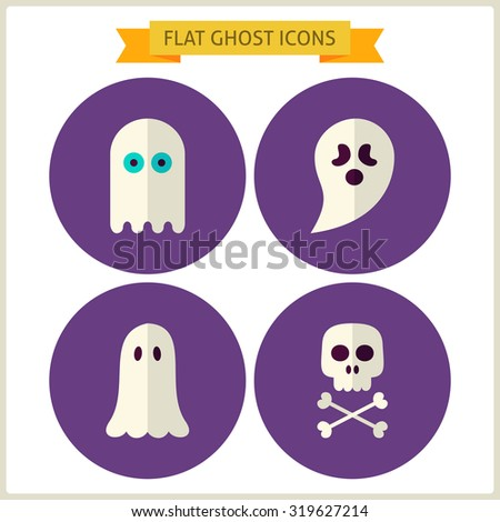 Flat Spirit Ghost Website Icons Set. Vector Illustration. Collection of October Magic Holiday Halloween Party Colorful Circle Icons. Tricks and Treats. Design Elements for Website Mobile Application - stock vector