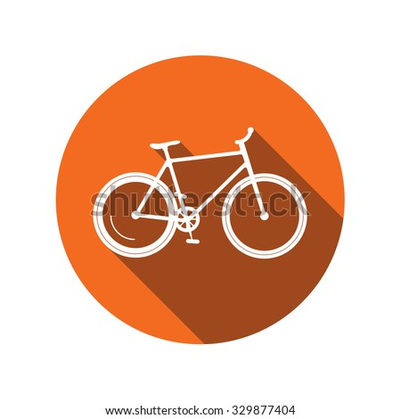 Flat sport bicycle vector icon. Mountain bike icon with long shadow, bike rent, logo, logotype, bycicle rent,  rental sticker badge, modern design, repair help idea emblem, flat road parking sign - stock vector