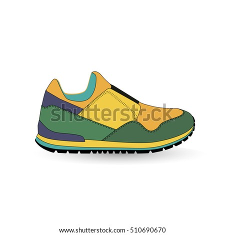 Flat sport sneakers background concept. Vector illustration design