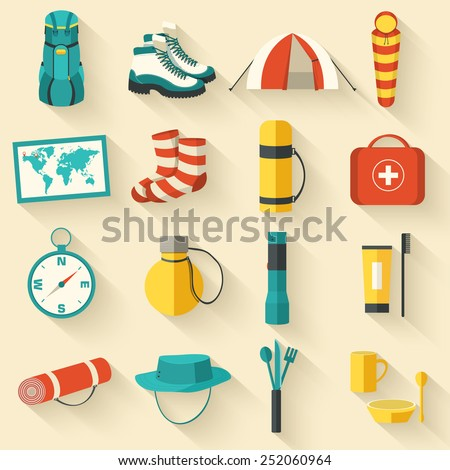 Flat sticker colorful vector tourist equipment set. Icons background concept design with long shadow - stock vector