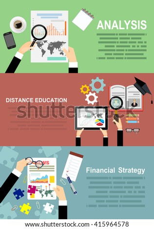 Flat study backgrounds set. Education. Study and creative process.Concepts for business planning and accounting, analysis, audit, project management, marketing, research in flat design style. - stock vector