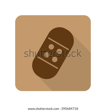 Flat style Adhesive Bandage web app icon on light brown background - stock vector