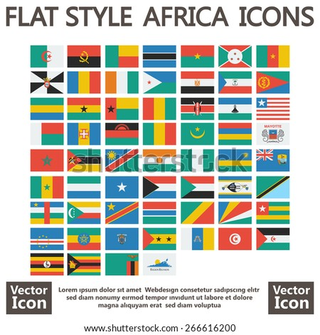 Flat style Africa flags set - stock vector