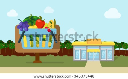 Flat style agriculture fruit vegetable berry fresh field country roadside organic market ecoshop web icons. Watermelon apple grapes cherry corn vector illustration. Website infographics collection. - stock vector