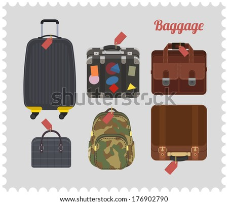 flat style baggage: bag, suitcase, cases and backpack. - stock vector