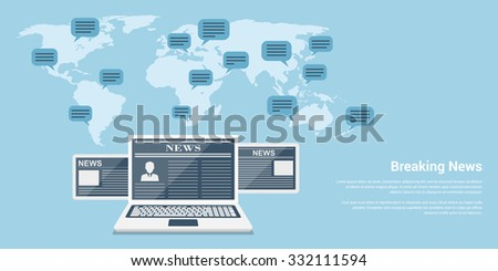 flat style banner concept of breaking news, notebook and tablets with news articles and world map with speech bubbles - stock vector