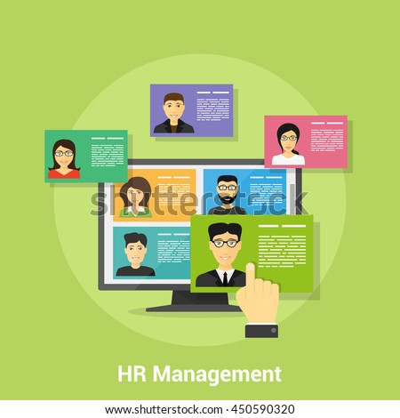 flat style banner design of human resource management concept, picture of pc monitor with people avatars