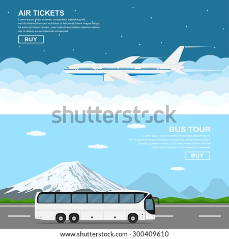 flat style banners, flying plain above the sky, moving bus in front of mountains, flat style illustration