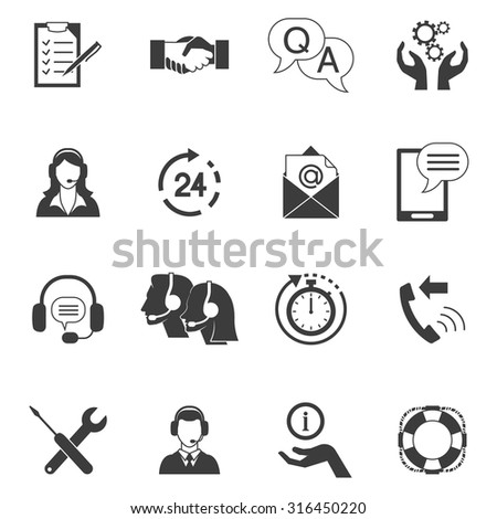 Flat style black and white icons set collection of fast support service and remote technical assistance isolated vector illustration - stock vector
