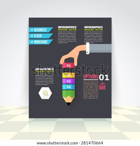 Flat Style Business Infographics Template, Vector Design Flyer, Numbered Banner, Icon Elements, Corporate Brochure Template  - stock vector