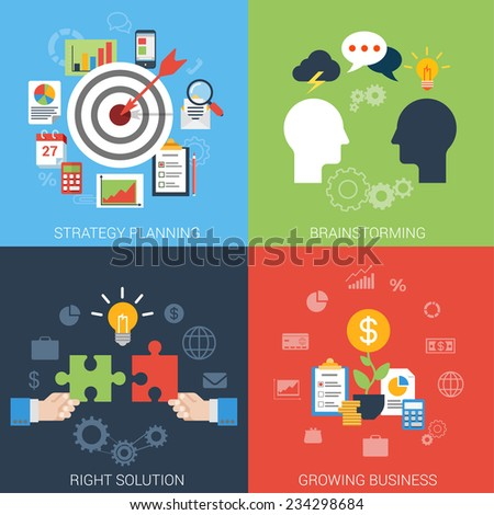 Flat style business success strategy target brainstorming growth solution infographic icon set concept. Aim bow arrow bull eye brainstorm chat idea man heads puzzle money web site banner template. - stock vector
