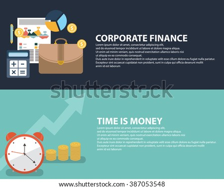 Flat style business time is money infographic concept and accounting finance. Web banners templates set. - stock vector