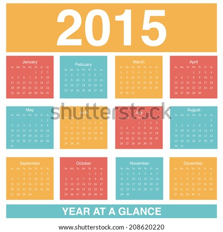 Flat Style 2015 Calendar Year at a Glance - stock vector