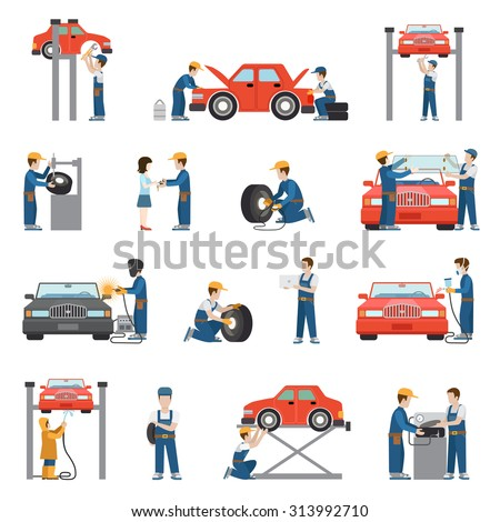 Flat style car repair service tire fitting diagnostics vehicle painting welding lift window replacement spare parts worker stuff at work icon pack set. Transport business services objects collection. - stock vector