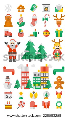 flat style christmas elements, vector background - stock vector