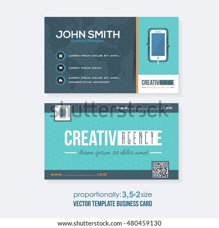 Flat Style Colorful Business Card Design Vector Template