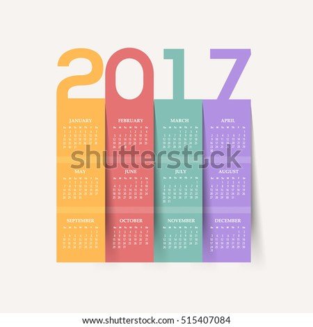 Flat Style Colorful Papers, 2017 Full Calendar Template - Promotion Poster Vector Design, Week Starts Sunday