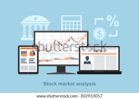 flat style concept for stock market analysis concept, online trading concept, forex concept