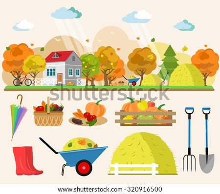Flat style concept illustration of autumn landscape with house, rain, haystacks, baskets of vegetables, trees, tools for garden. Vector set - stock vector