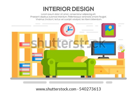 flat style concept set of interior design room types living room with furniture colorful