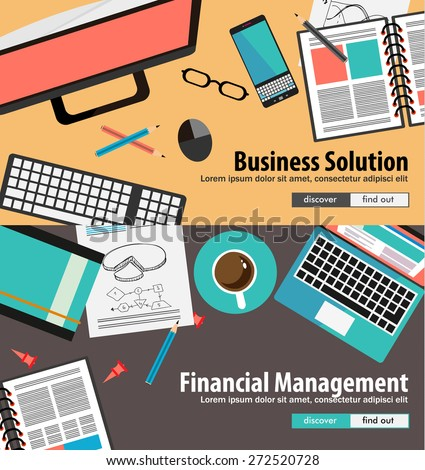 Flat Style Concepts for Resources Division and Process Optimiziation. seo,Ideal for corporate brochures, flyers, digital marketing, product or idea presentations, web banners and so on . - stock vector