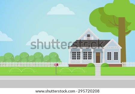 Countryside house stock images royalty free images for Flat architecture design