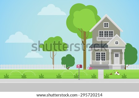 Architecture Design Elements flat style countryside family house backyard stock vector
