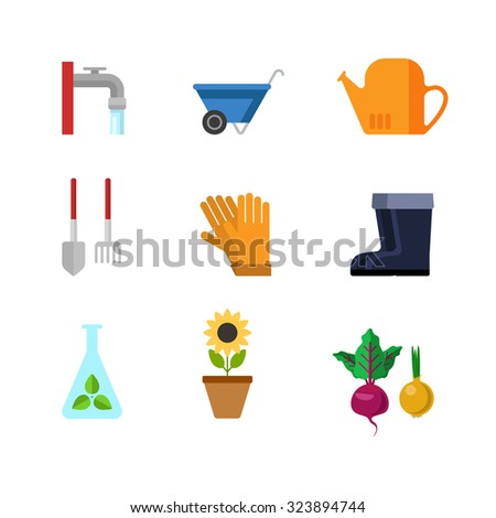 Flat style creative modern gardening tools clothing web app concept icon set. Outdoor water faucet wheelbarrow watering can shovel rake gloves rubber boots sunflower test-tube seedling. Website icons.