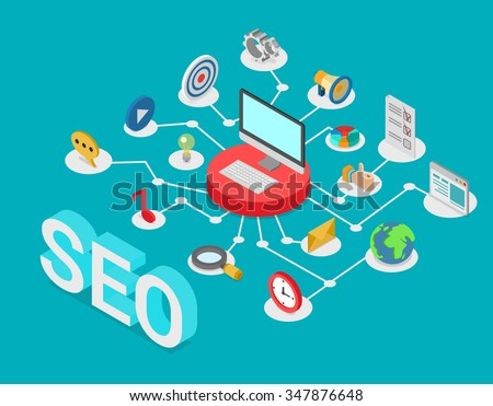 Flat style 3d isometry isometric SEO search engine optimization creative web technology concept. Computer on pedestal connected to SEO-related icons: message music social media post promotion target. - stock vector