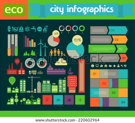 Flat style design eco city infographic - stock vector