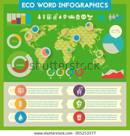 Flat style design eco world infographics with polygonal world map and infographics template