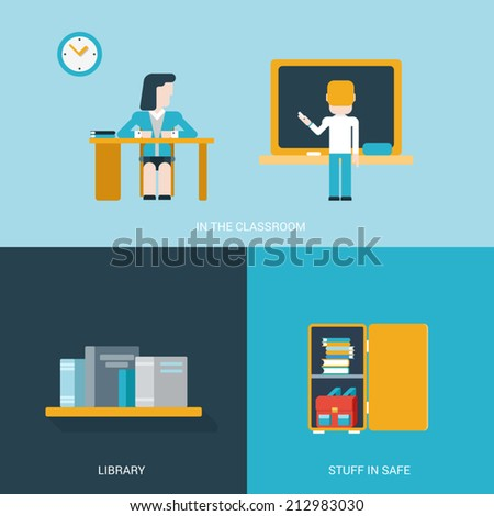 Flat style design vector illustration icon set back to school education concept. Student in the classroom by the blackboard, library bookshelf, school college locker with stuff. Flat icons collection. - stock vector