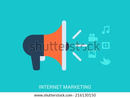 Flat style design vector illustration internet online marketing smm smo concept. Loudspeaker icon spreading streaming content media message image social post status video audio music. Big collection. - stock vector