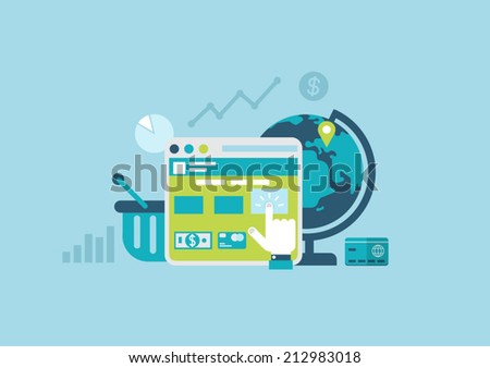 Flat style design vector illustration online purchase process concept. Internet store sale shopping cart checkout interface. Website window ui button click, globe delivery, credit card. Collection. - stock vector
