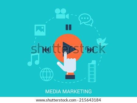 Flat style design vector illustration social media marketing concept. Hand cursor click play button social content data file type icons photo video message music. Big flat conceptual collection. - stock vector