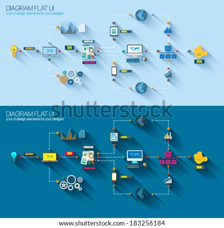 Flat Style Diagram, Infographic and UI Icons to use for your business project, marketing promotion, mobile advertising, research and analytics. - stock vector