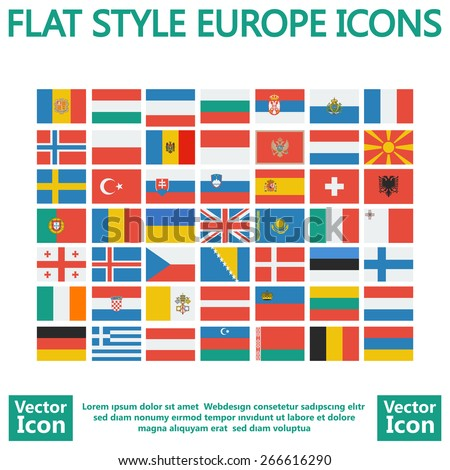 Flat style Europe flags set - stock vector