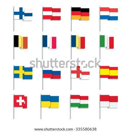 Flat Style European Flags - stock vector
