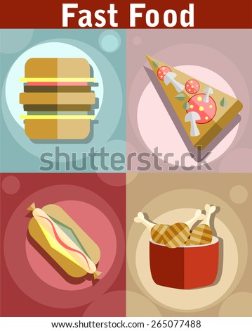Flat style fast food designs. Set of foods. Pizza, Hot Dog, Hamburger and Chicken drumsticks. - stock vector