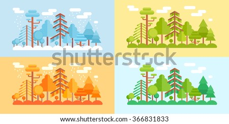 Flat Style Forest Scenery Four Stylized Stock Vector 366831833