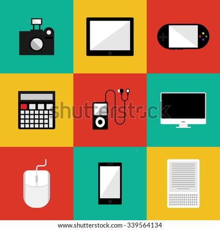 Flat Style Gadget Vector Set - stock vector