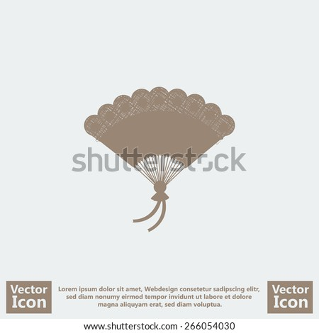 Flat style hand fan icon - stock vector
