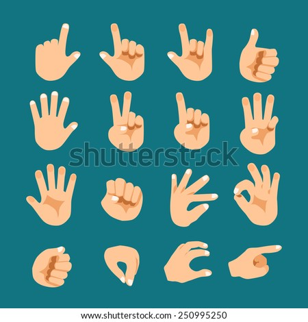Flat style hand gesture vector icon set - stock vector
