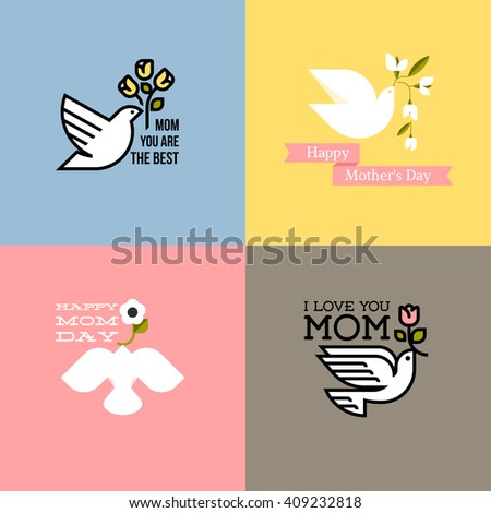 Flat style happy mothers day cards with dove, pastel colored spring flowers and greeting text message - stock vector