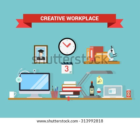 Flat style home office interior computer laptop graduate student workplace objects concept. Outsourcing distant work telework vector conceptual illustration. Web site infographics elements collection. - stock vector