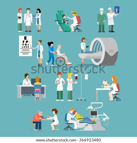 Flat style hospital profession specialist concept vector people icon set for hospital patient team checkup x-ray wheelchair MRI oculist dentist pediatrician doc nurse. Creative people collection. - stock vector