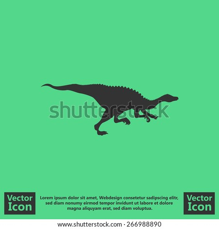 Flat style icon with dinosaur symbol - stock vector