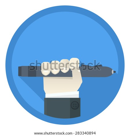 Flat style icon with hand holding digital pen - stock vector