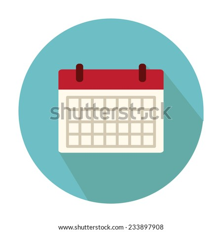 Flat Style Icon with Long Shadow. A calendar. Concept for education, training courses, self-development and how-to articles - stock vector